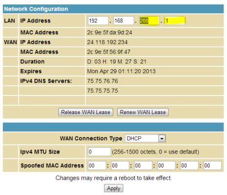 Change IP Address LAN settings