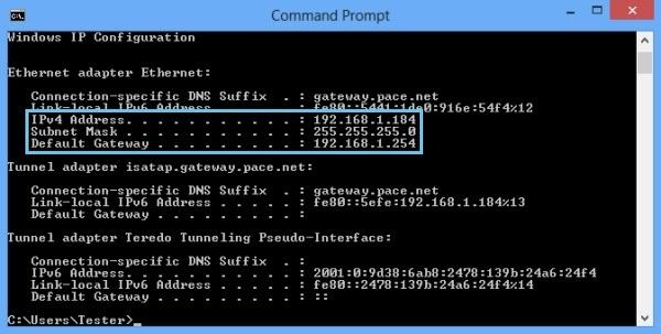 Finding IP address on Windows - 192.168.1.254