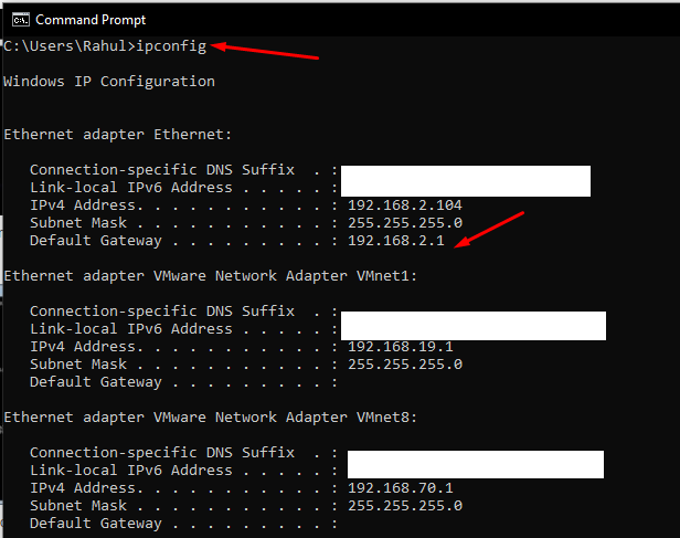 how to find IP Address in windows - 192.168.2.1